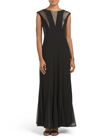 Illusion Mesh Top Long Gown