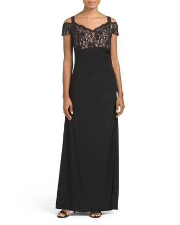 Off The Shoulder Lace Long Gown