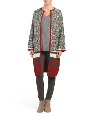 Wool Blend Patterned Duster Sweater