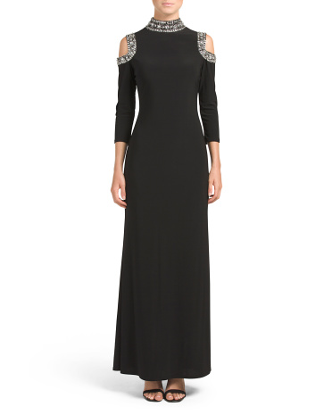 Beaded Cold Shoulder Long Dress