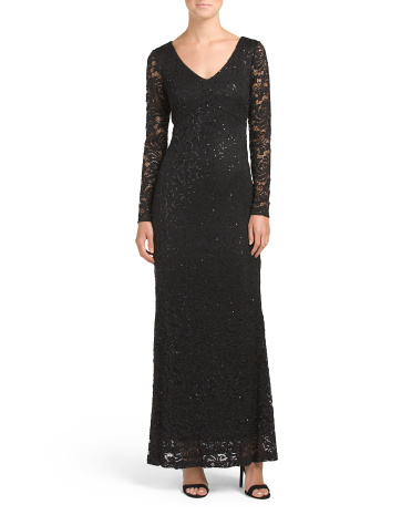 Made In USA Lace And Sequin Dress
