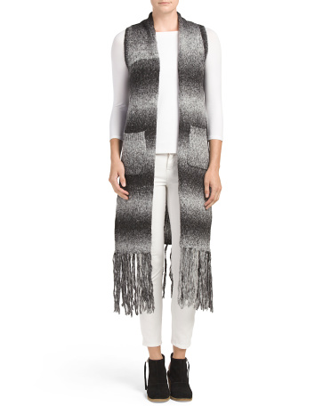 Ombre Fringed Sweater Duster Vest