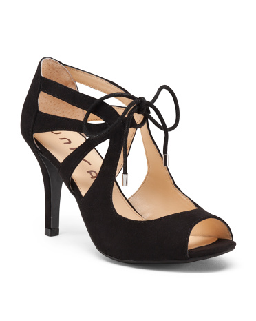 Peep Toe Lace Up Heels