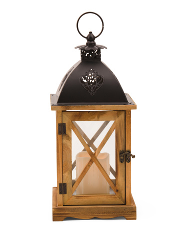 16in Wooden LED Lantern
