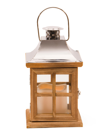 9in Wood Pane LED Lantern