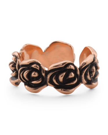 Made In Italy Plated Bronze Rose Open Ring