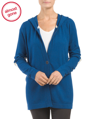 Cashmere Elbow Patch Hooded Cardigan