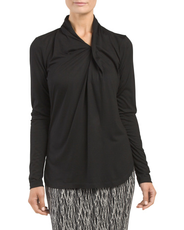 Long Sleeve Pleat Neck Top