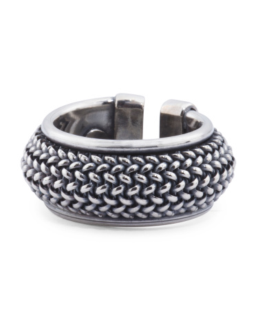 Men's Made In Italy Sterling Silver Oxidized Chain Ring