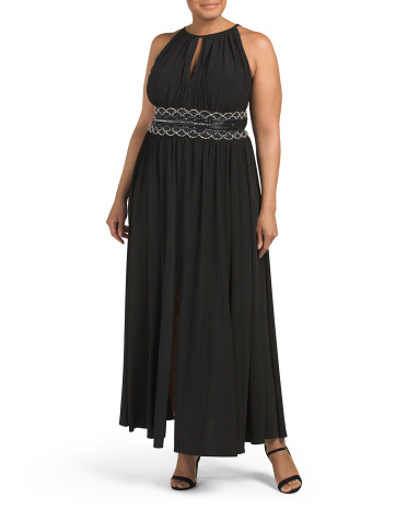 Plus Beaded Waist Keyhole Neck Gown