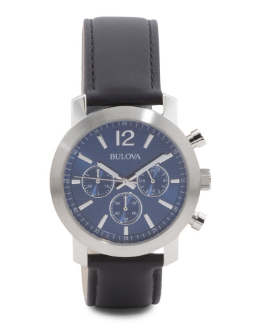 Men's Chronograph Black Leather Strap Watch