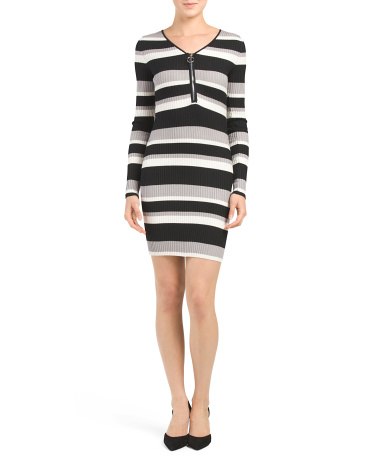 Juniors Zip Front Rib Stripe Dress