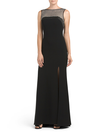 Embroidered Illusion Panel Stretch Gown