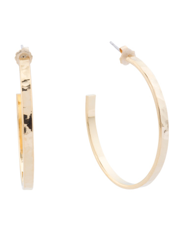 Made In USA 22k Gold Plated Brass Hammered Hoop Earrings