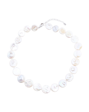 Sterling Silver Large Coin Pearl Necklace