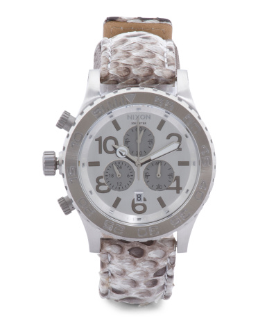 Men's Chronograph Snakeskin Leather Strap Watch