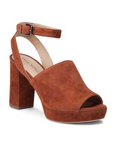 One Band Ankle Strap Suede Heels