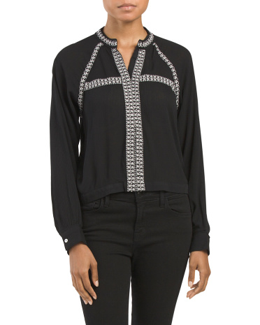Juniors Woven Embroidered Top