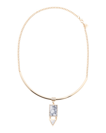 Howlite Collar Necklace In Gold Tone
