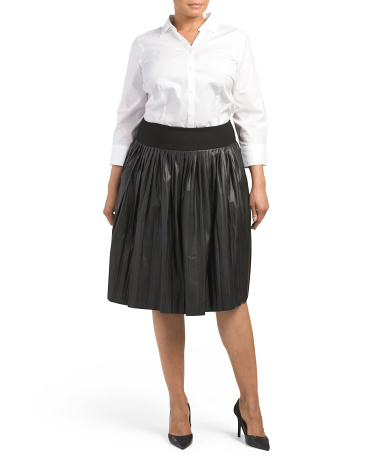Plus Faux Leather Pleated Skirt