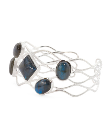 Made In Italy Sterling Silver Labradorite Cuff Bracelet