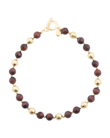 Made In Italy Sterling Silver Red Tiger Eye Bead Necklace