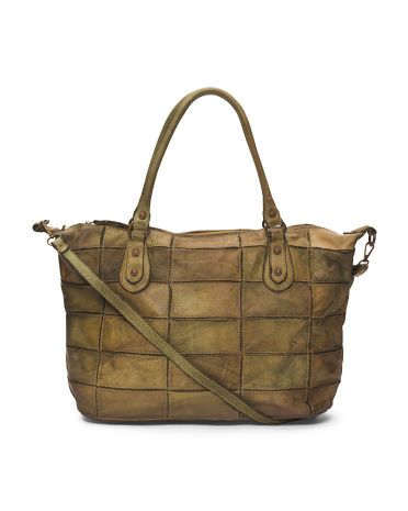 Made In Italy Distressed Leather Large Tote