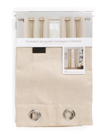 38x84 Textured Basketweave Set Of 2 Curtains