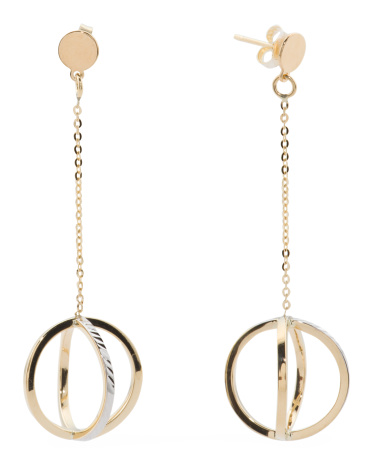 Made In Italy Two Tone 14k Gold Interlocking Circle Drop Earrings