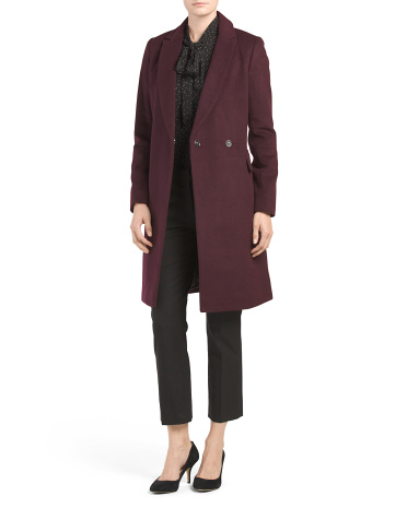 Wool Blend Reefer Collared Coat
