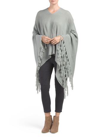Fringed Flat Knit Poncho