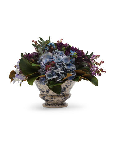 Hydrangea And Lilac In Ceramic Pot