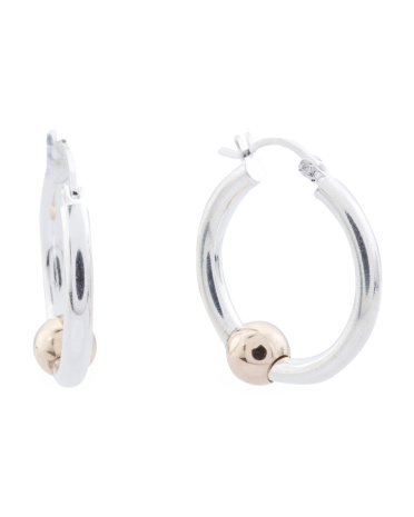 14k Gold And Sterling Silver Ball Hoop Earrings