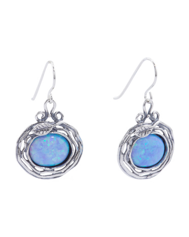 Made In Israel Sterling Silver Opal Earrings