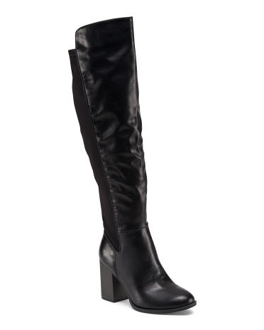 Round Toe Stretch High Shaft Boots