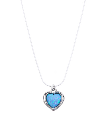 Made In Israel Sterling Silver Opal Heart Necklace