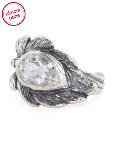 Made In Israel Sterling Silver Cubic Zirconia Feather Ring