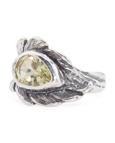 Made In Israel Sterling Silver Lemon Quartz Feather Ring