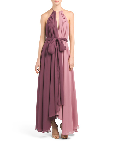 Halter Neck Keyhole Gown