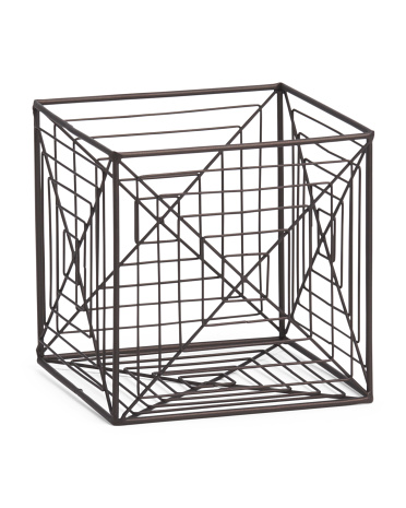 Small Square Metal Abstract Storage Crate