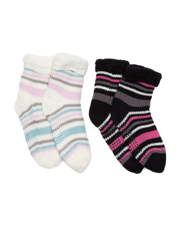 2pk Striped Slipper Socks