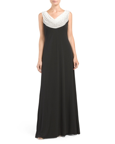 Made In USA Beaded Drape Gown