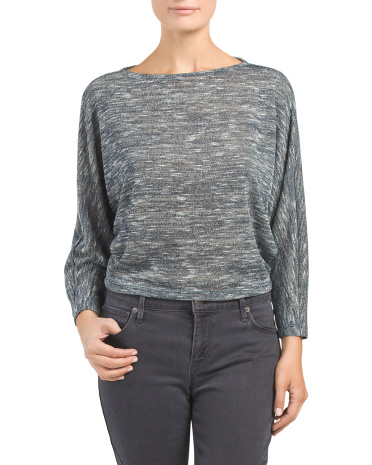 Juniors Cropped Space Dye Sweater