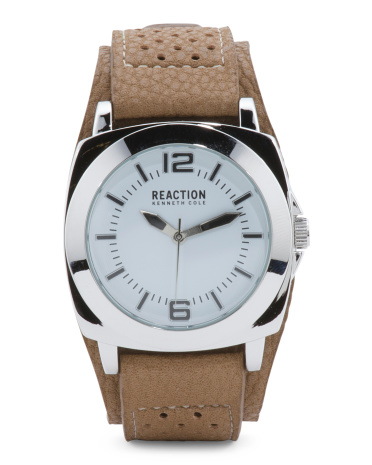Men's Square Case Perforated Strap Watch