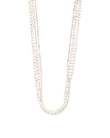 Triple Strand Champagne Crystal And Pearl Necklace