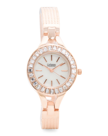 Women's Baguette Crystal Bezel Thin Bracelet Strap Watch