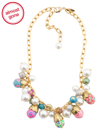 Pearl And Floral Bead Necklace In Gold Tone