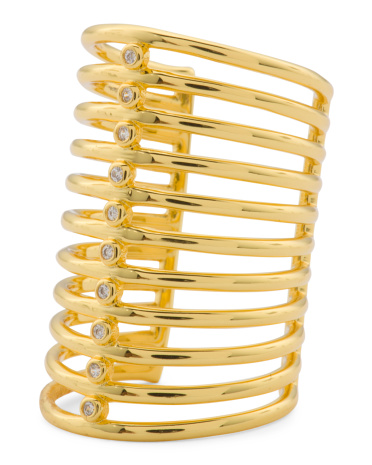 Triton Cage Ring In Gold Tone