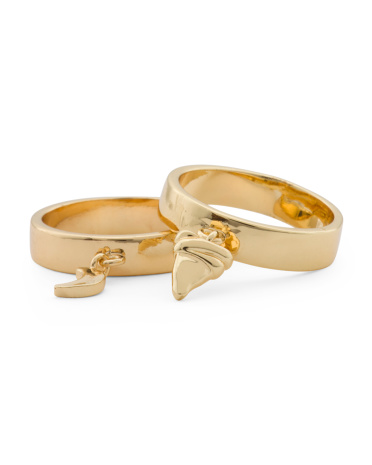 Set Of 2 Charm Rings In Gold Tone
