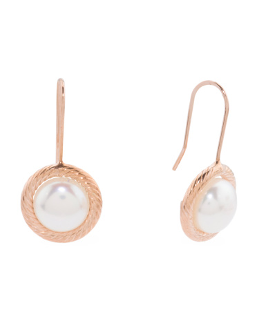 Made In Italy 14k Rose Gold Pearl Drop Earrings